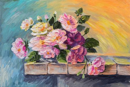 Ölgemälde auf Leinwand - Stillleben Blumen auf dem Tisch