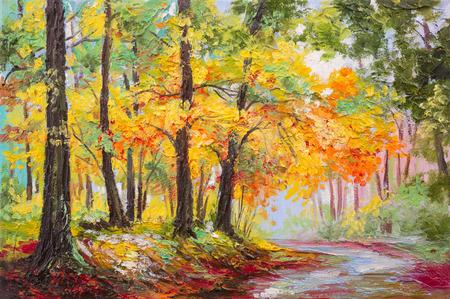 油絵風景 - カラフルな秋の森