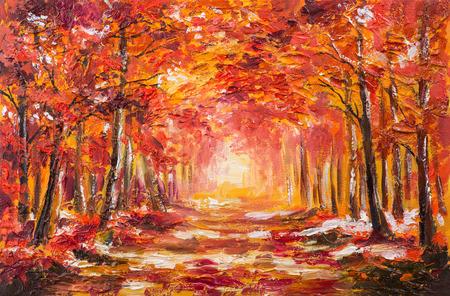 cuadros abstractos: Paisaje de la pintura al óleo - colorido bosque de otoño