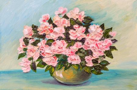 캔버스에 유화 - 테이블에 여전히 삶의 꽃 스톡 콘텐츠