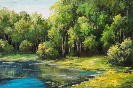 Oil painting landscape - lake in the forest, summer day Banco de Imagens