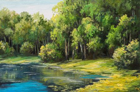 Paisaje de la pintura al óleo - lago en el bosque, día de verano Foto de archivo - 46895640