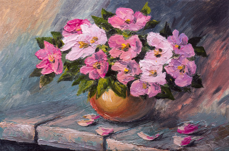 flowers in vase: Oil painting on canvas - still life flowers on the table