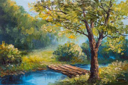 Pittura a olio di paesaggio - bosco colorato estate, bel fiume Archivio Fotografico - 46895687
