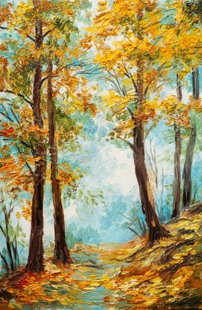canvas background: Oil painting landscape - colorful autumn forest