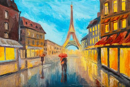 Oil painting of Eiffel tower, France Standard-Bild