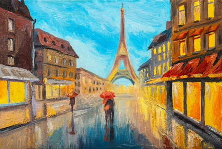 famous: Oil painting of Eiffel tower, France Stock Photo