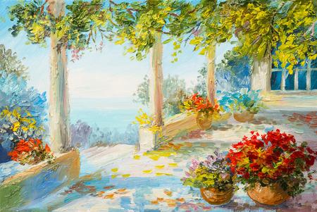 landscape flowers: Oil painting landscape - terrace near the sea, flowers Stock Photo