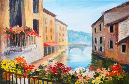 油彩画、有名な観光地、カラフルな印象派、ヴェネツィアの運河 写真素材
