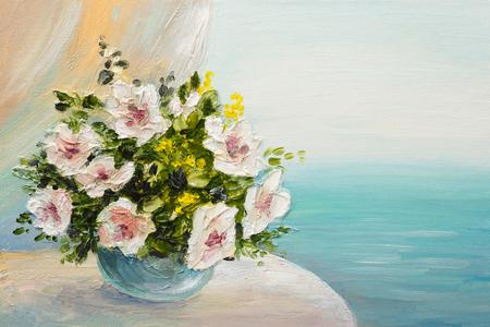 油絵静物 - テーブルの上の花の花束