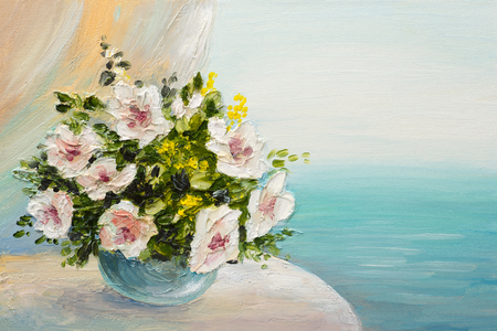 flower arrangement: oil painting still life - bouquet of flowers on the table