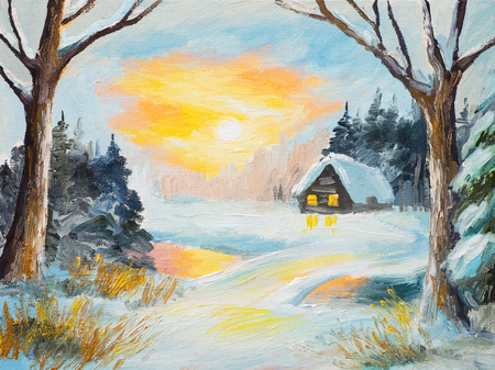 coldly: oil painting winter landscape, frozen river in the forest, colorful watercolor