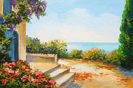 beach panorama: oil painting - house near the sea, colorful flowers, summer seascape