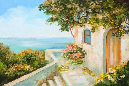 coastal: oil painting - house near the sea, colorful flowers, summer seascape