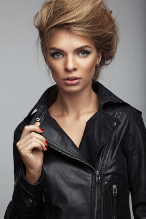 fashion shoot: Fashion shoot of girl with beautiful hair style in a leather jacket