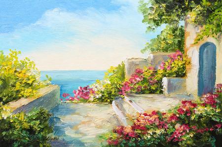 Ölgemälde - Haus am Meer, bunte Blumen, Sommermeerblick
