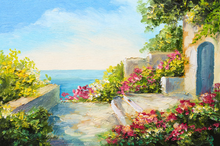 villas: oil painting - house near the sea, colorful flowers, summer seascape