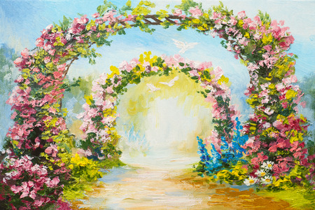 arch: oil painting - floral arch in the summer park, colorful art picture, abstract drawing, flying doves