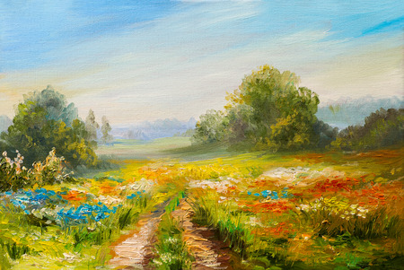 impressionism: oil painting landscape, colorful field of flowers, abstract  impressionism Stock Photo