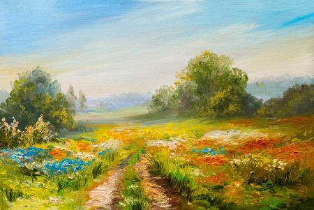 Paesaggio dipinto ad olio, campo colorato di fiori, l'impressionismo astratto Archivio Fotografico - 56391049