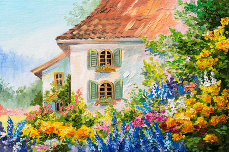 obraz olejny krajobraz, dom w ogrodzie kwiatowym, abstrakcyjne impresjonizmu