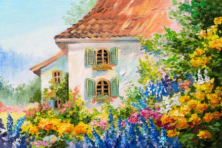 peinture: peinture à l'huile paysage, maison dans le jardin de fleurs, impressionisme abstrait