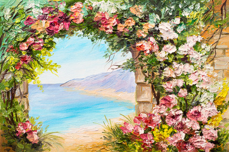 Oil painting landscape - arch near the sea, flowers