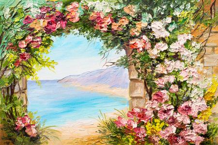 paisaje mediterraneo: pintura al óleo del paisaje - arco cerca del mar, flores