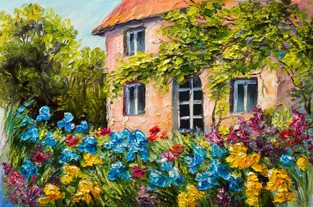 olieverf landschap, huis in de bloementuin, abstract impressionisme Stockfoto
