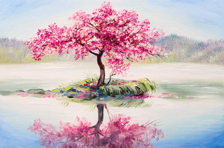 peach tree: oil painting landscape, oriental cherry tree, sakura on the lake Stock Photo