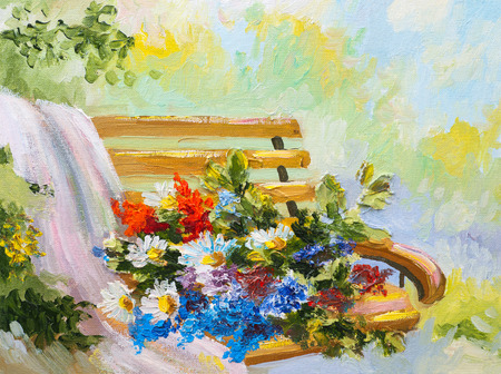flowers bouquet: Oil Painting, bouquet of flowers on the bench