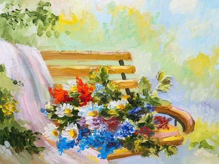 Pintura al óleo, ramo de flores en el banquillo