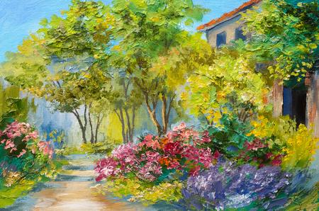 casa de campo: Pintura al óleo - casa en el bosque de verano