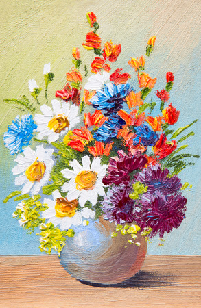 drawing flowers in a vase, oil watercolor abstract painting Stock Photo