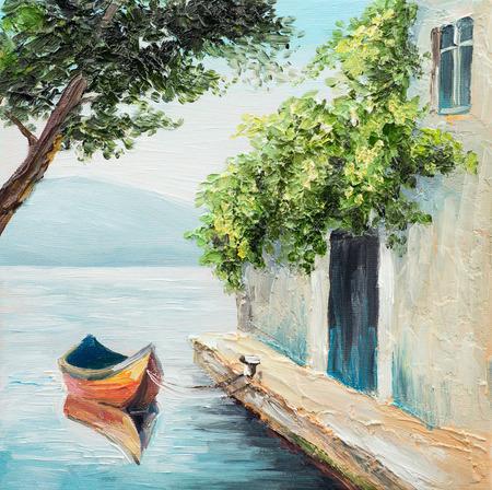 Olieverfschilderij, gondel in Venetië, mooie zomerse dag in Italië, abstracte tekening Stockfoto