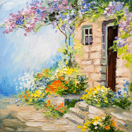 canvas: oil painting landscape - garden near the house, colorful flowers, summer forest Stock Photo