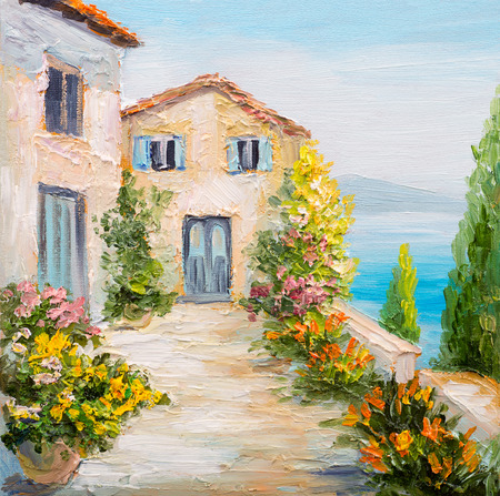 paisaje mediterraneo: pintura al óleo - casa cerca del mar, flores de colores, paisaje marino del verano