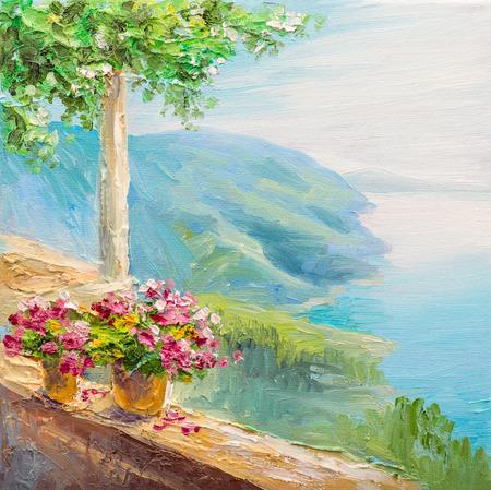 paisaje mediterraneo: pintura - casa cerca del mar, Seascap, colorido impresionismo
