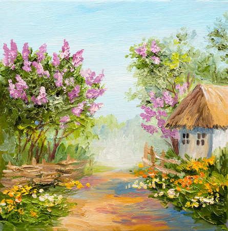Oil Painting - house in the forest