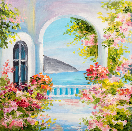 油絵キャンバスに近くの海、夏、キャンバス、ギリシャ語の家 写真素材