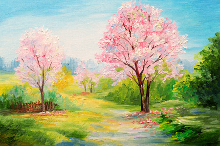 oil painting, colorful forest, ?herry blossoms, art watercolour