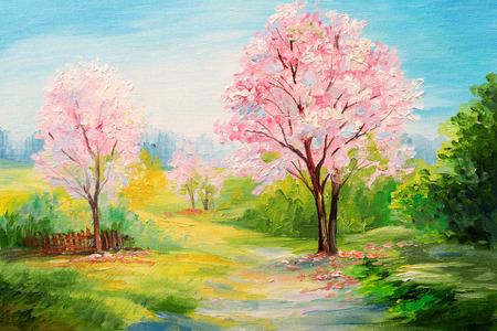 Pittura a olio, bosco colorato,? fiori Herry, arte acquerello Archivio Fotografico - 58710152