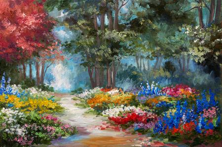 Peinture à l'huile paysage - forêt colorée Banque d'images - 58710538