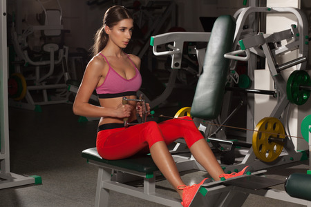 Sexy fitness woman in sport wear with perfect body in the gym. Attractive fitness, trained female body. Girl in the gym