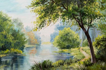 Olieverfschilderij landschap - kleurrijke bos