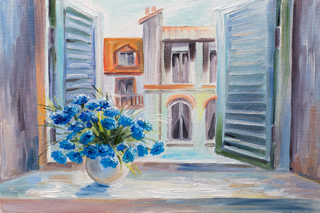 oil painting. flowers in the balcony, beautiful rooftops in summer, colorful watercolour