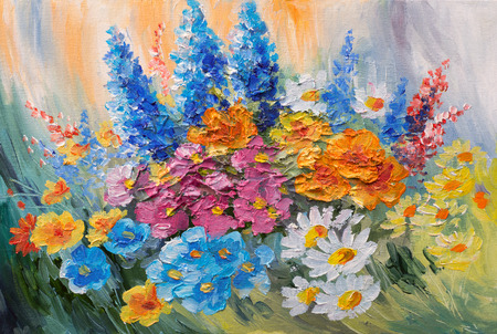 flower painting: oil painting - abstract bouquet of spring flowers, colorful watercolor Stock Photo