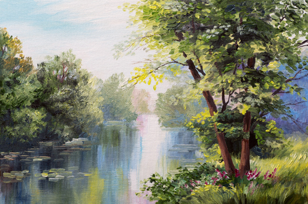 blue green landscape: Oil painting landscape - lake in the forest, summer day Stock Photo