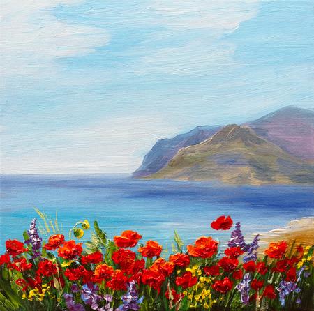 papaver veld in de buurt van de zee, kleurrijke kust, kunst olieverfschilderij Stockfoto
