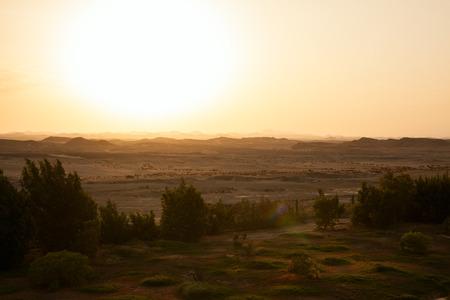 sunset in the desert, the Egyptian landscape